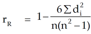 spearman rank correlation formula