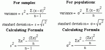 sample and population standard deviation formula